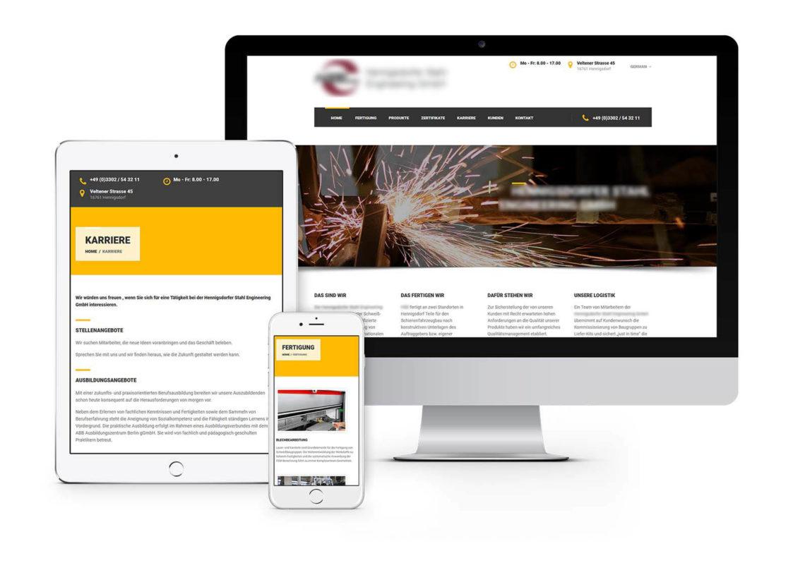 Webdesign Hennigsdorf für Hennigsdorfer Stahlunternehmen